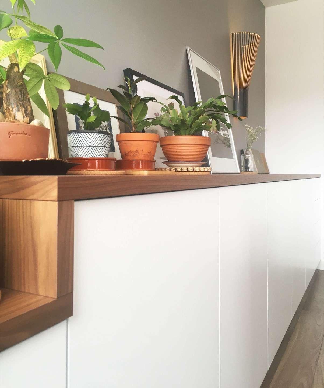 Photo des petites plantes vertes posées sur le plateau du meuble bas
