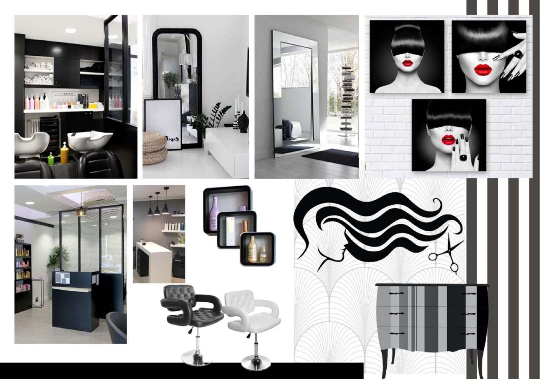 C'est une planche d'inspiration qui nous indique le salon de coiffure est d'un total look noir et blanc