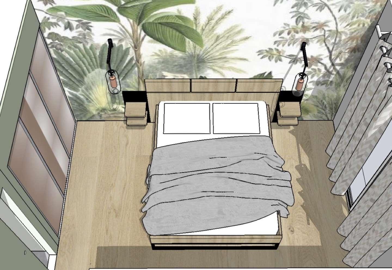 Rénovation d'une suite parentale. Chambre à l'ambiance végétale avec un papier peint qui représente une forêt typique de la jungle. Un parquet au sol de couleur chêne clair accompagne l'ensemble.