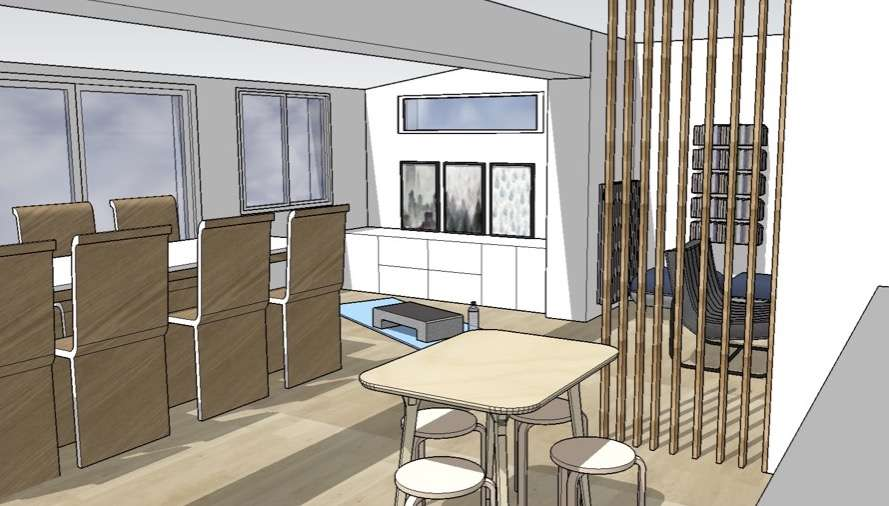 Visuel 3D sur le séjour avec un espace pour pratiquer la gym
