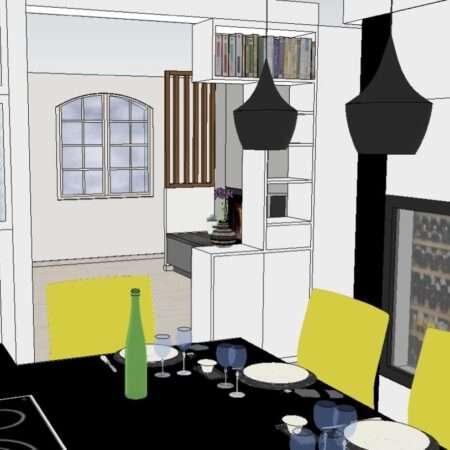 Le visuel 3D nous montre la vue que les clients vont avoir lorsqu'ils seront assis à leur table de cuisine