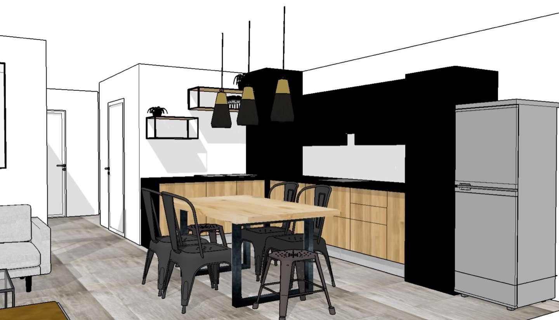 Vue en 3D de la cuisine en L