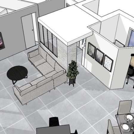 Vue en 3D de l'espace salon avec sa nouvelle entrée